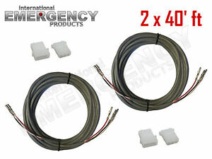 2x 40 Ft Strobe Cable 3 Conductor Wire Amp Power Supply W Connector For Whelen