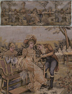 Vintage Tapestry Victorian Couple Scene Love Unmarked France Belgium Italy Art