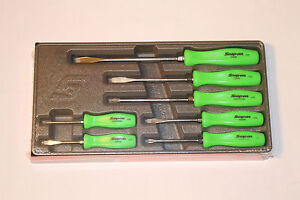 Snap On 7 Piece Rare Green Hard Handle Combination Screwdriver Set Brand New