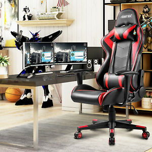 Merax Pu Leather Racing Gaming Chair Race Car Seat High Back Office Desk Chair