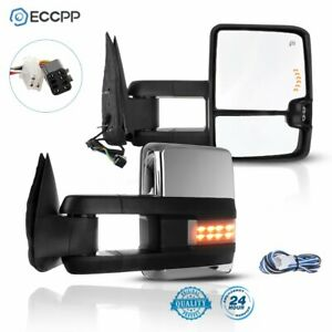 For 99 02 Silverado Sierra Pair Set Power Signals Chrome Towing Mirrors
