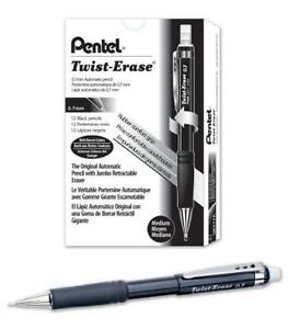 Pentel Twist erase Iii Mechanical Pencil 0 7mm Black Barrel Box Of 12 qe517a