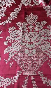 Luscious Floral Urn Antique 19thc French Lyon Silk Damask Fabric C1860