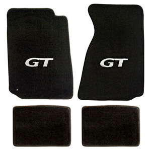 New 1994 2004 Ford Mustang Black Carpet Floor Mats With Gt Logo Silver Set Of 4