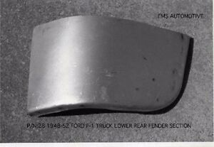 Ford 1 2 Ton Pickup Truck Front Fender Lower Rear Patch Right 1948 1952 28r Ems