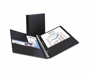 Avery Economy Reference Binder Round Ring Black 1 12 Pack Two Interior Pockets