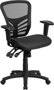 Black Mesh Executive Office Chair W multi function Adjustable Height