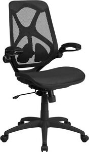 Contemporary Black Executive Office Chair W adjustable Height Mesh Seat