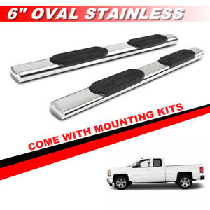 6 Oval Nerf Bars Side Step For 99 13 Chevy Silverado Extended Cab Running Board