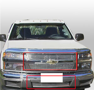 Chevy 2004 11 Colorado Truck Upper lower Bumper Billet Grille Grill Insert Combo