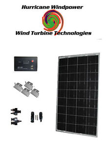 Hurricane 100w Watts 12v Poly crystalline Solar Panel Off Grid Kit Rv Boat Diy