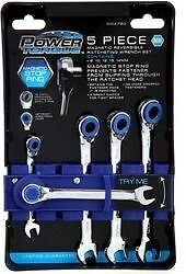 Power Torque 5 Pc Magentic Reversible Ratcheting Wrench Set Metric Gm4780