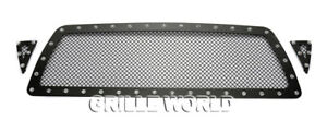 Fits 2005 2011 Toyota Tacoma Stainless Black Rivet Studs Mesh Grille Insert