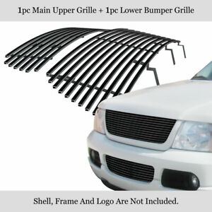For 2002 2005 Ford Explorer Stainless Steel Black Billet Grille Combo