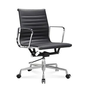 Mid century Design Mid Back Black Ribbed Genuine Leather Conference Office Chair