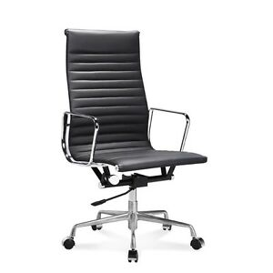 Mid century Design High Back Black Ribbed Genuine Leather Conference Chair