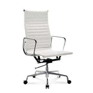 Mid century Design High Back White Ribbed Genuine Leather Conference Chair