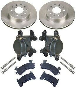 New Rear Brake Rotor Gm Metric Caliper Set With Pads Bolts d154 1 Piece Hat