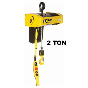 R m Lk Electric Chain Hoist 2 Ton 20 Ft Lift 8 Fpm With Top Hook