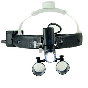 Dental Led Surgical Headlight 2 5x420mm Leather Headband Loupe With Light Dy 105