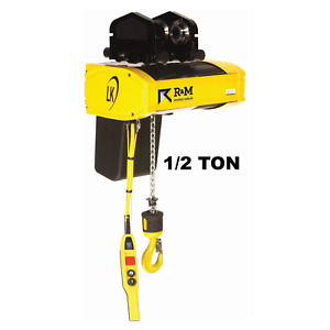 R m Lk Electric Chain Hoist 1 2 Ton 20 Ft Lift 16 Fpm With Push Trolley