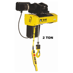 R m Lk Electric Chain Hoist 2 Ton 20 Ft Lift 16 3 Fpm Motorized Trolley