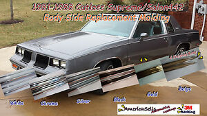 1981 1988 Olds Oldsmobile Cutlass 442 White Chrome Body Side Molding Trim