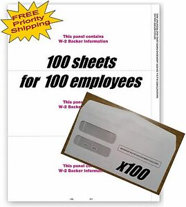 Blank Tax Forms W 2 With Backer 3 up tf5211 For 100 Employees Envelopes