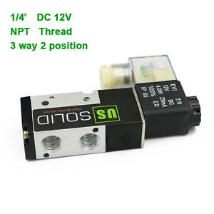 U s Solid 1 4 Pneumatic Electric Solenoid Valve 3 Way 2 Position Dc 12v Air