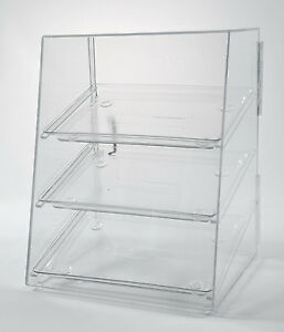 Food Display Case With 3 Trays Acrylic Pastry Case Donut Bakery Display
