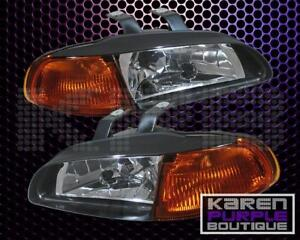 Honda Civic 92 93 94 95 4dr Sedan 1pc Jdm Black Amber Headlight Left Right