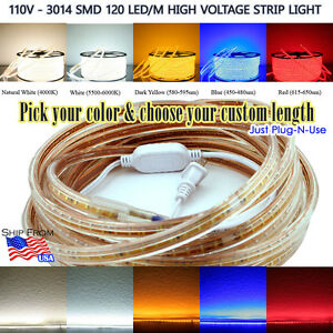 1m 50m 3014 110v Highvoltage 120led m Strip Light Nwhite Dyellow Red Blue White