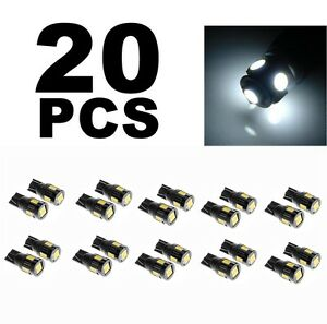 20 Pcs Xenon White 6000k T10 194 168 921 Samsung Led Car Side Wedge Light Bulb