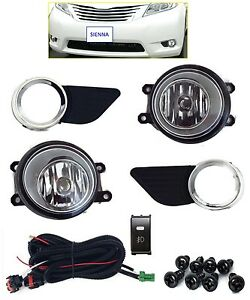 Fog Light Kit For Toyota Sienna 2011 2016 Lamps Harness Chrome W Black Bezels