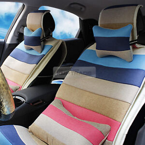 Rainbow Summer Cool Hemp Fabric Neck Waist Cushion Seat Cover For All Vechicle