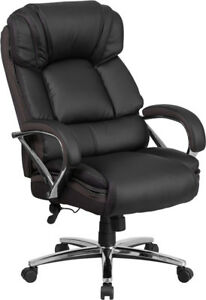 Big Tall Black Leather Executive Office Chair Extra Wide Seat 500lbs Capacity