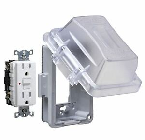 Weatherproof Electrical Plug Box Cover Protector 1 Gang Rectangle Plasticoutlet