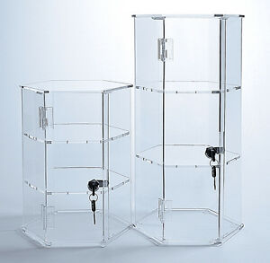 Acrylic Hexagonal Display Locking Display Case Clear Acrylic Case With Keys