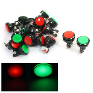 20pcs 1 4 Cap Momentary Spst Red Green Lpush Button Switch For Game Machine
