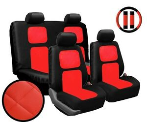 Premium 13 Piece Black And Red Universal Faux Leather Car Seat Cover Set