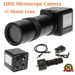 100x Industrial Digital Microscope Camera Bnc Pal Av Tv Video Zoom c Mount Lens