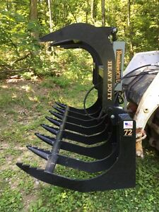 New 72 Root Grapple Skid Steer tractor 6 Brush Bucket bobcat Case Cat Etc