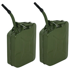 2x 5 Gallon Jerry Can Fuel Steel Tank Green Military Nato Style 20l Storage