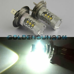 2x Super White 80w H7 Led Bulb Car Led Fog Lamp Low Beam Headlight For Benz Audi