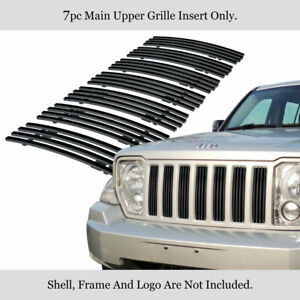 For 08 11 2011 Jeep Liberty Vertical Stainless Steel Black Billet Grille
