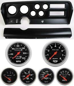 70 72 Gto Black Dash Carrier W Auto Meter Sport Comp Mechanical Gauges