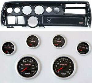 70 72 Chevelle Sweep Carbon Dash Carrier Concourse Black Face Gauges
