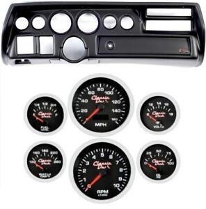 70 72 Chevelle Sweep Black Dash Carrier Concourse Black Face Gauges