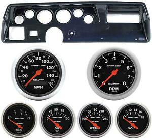 70 72 Chevelle Ss Carbon Dash Carrier W Auto Meter Sport Comp Electric Gauges