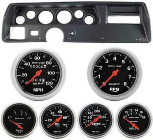 70 72 Chevelle Ss Black Dash Carrier W Auto Meter Sport Comp Mechanical Gauges